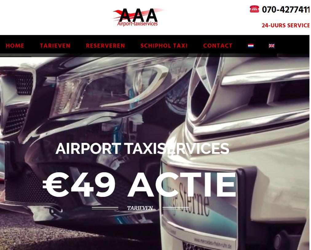 Website gemaakt voor AAA Airport-Taxiservices