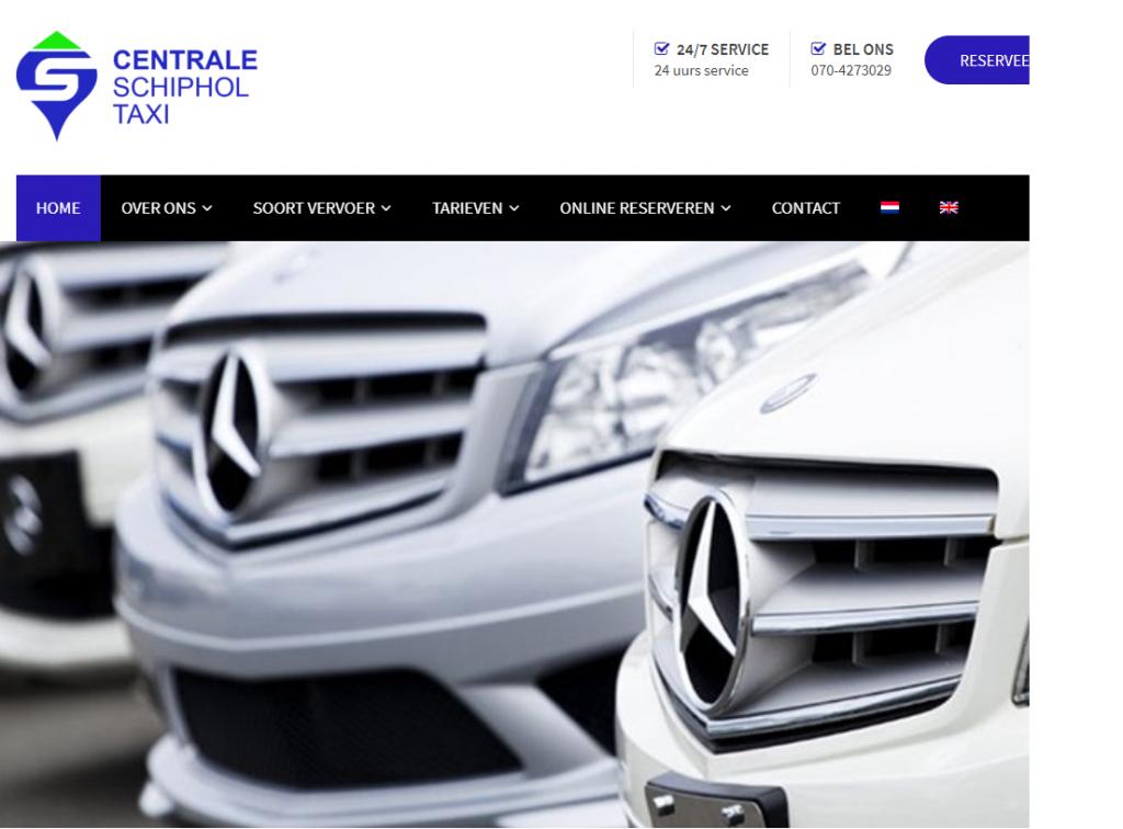 Website gemaakt voor Centrale Schipholtaxi