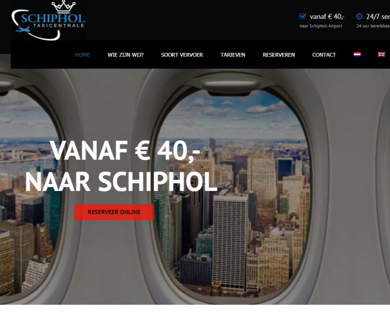 Website van Schiphol Taxicentrale