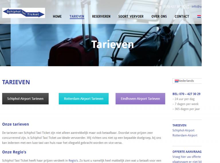 Website van Schiphol Taxi Ticket
