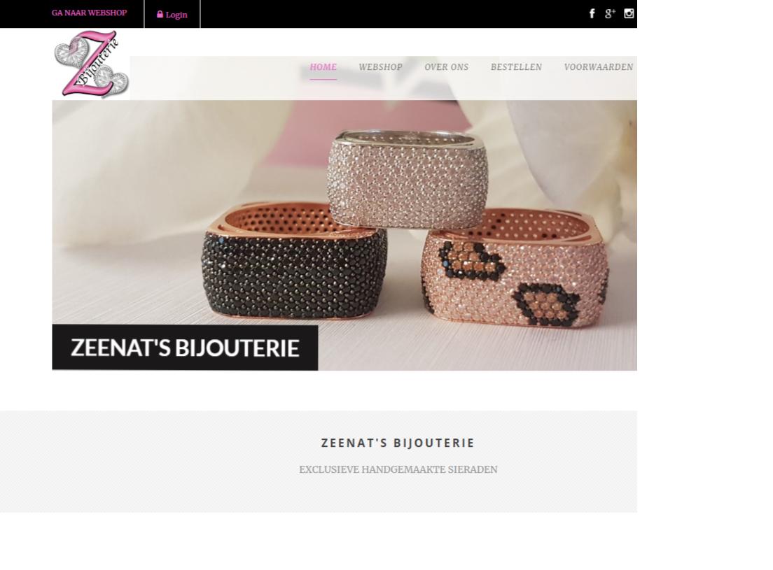 Webshop gemaakt voor Zeenats Bijouterie