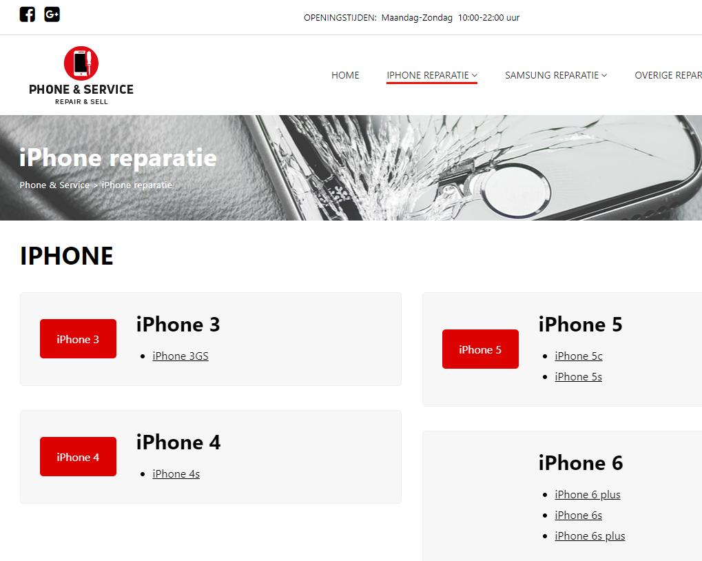 Website gemaakt voor Phone en Service